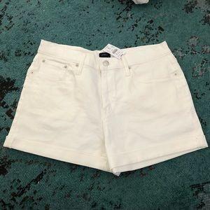 J. crew Factory White Denim High Rose Shorts